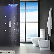 cheap Shower Faucets-Contemporary Rain Shower Widespread Handshower Included Thermostatic LED Brass Valve Three Handles Nine Holes Chrome , Shower Faucet