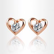 Žene Srce Kristal / Kubični Zirconia Zircon / Kubični Zirconia Sitne naušnice - Personalized / Ljubav / Moda Zlato / Pink Naušnice Za