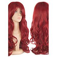 Peruci Sintetice Buclat Stil Fără calotă Perucă Roșu Fuxia Păr Sintetic Pentru femei Roșu Perucă Lung Halloween Wig