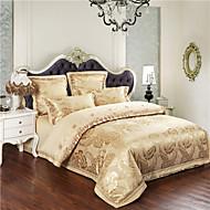 Duvet Cover Sets Floral 4 Piece Cotton Jacquard Cotton 4pcs (1 Duvet Cover, 1 Flat Sheet, 2 Shams)