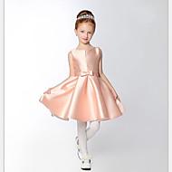 A-line short / mini vestido de menina de flor - cetim com decote em branco com fita adesiva por thstylee
