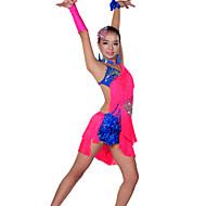 billiga Danskläder och dansskor-Latinamerikansk dans Outfits Prestanda Elastan Tofs Klänning Ärmar Armband Slips Huvudbonad Shorts