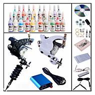 billige Tatoveringssett for nybegynnere-BaseKey Tattoo Machine Startkit, 1 pcs tattoo maskiner med 28 x 5 ml tatovering blekk - 1 x stål tatoveringsmaskin til lining og