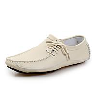 baratos Sapatos Masculinos-Homens Pele Primavera / Verão Conforto Mocassins e Slip-Ons Cinzento / Marron / Azul