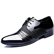 cheap Small Size Shoes-Men's Shoes Patent Leather Spring Fall Comfort Oxfords Lace-up for Wedding Office & Career Party & Evening Black Brown