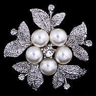 Women's Brooches - Cubic Zirconia Flower Party, Work, Casual Brooch Silver For Wedding / Party / Special Occasion