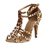 Women's Dance Shoes Latin / Salsa / Samba Satin Heel Black / Purple / Leopard Customizable