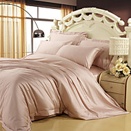 100% Tencel Soft Bedding Sets Queen King Size Solid color Duvet Cover Set