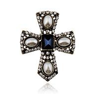 Dame Krystal Vintage Statement-smykker Victoriansk Europæisk Perle Krystal Imiteret Perle Rhinsten Legering Kors Smykker Til Fest Daglig