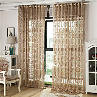 cheap Sheer Curtains-Grommet Top Pencil Pleat Two Panels Curtain European, Hollow Out Stripe Curve Geometic Living Room Polyester Material Sheer Curtains