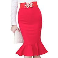 Dame Plusstørrelser Bodycon Nederdele - Arbejde Ensfarvet, Drapering