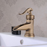 cheap Bathroom Sink Faucets-Traditional Deck Mounted Ceramic Valve Single Handle One Hole Chrome, Bathroom Sink Faucet