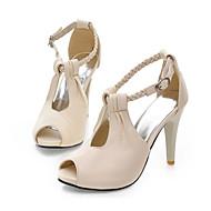baratos Sapatos de Tamanho Pequeno-Mulheres Sapatos Courino Primavera / Verão Salto Agulha Branco / Preto / Bege / Festas & Noite / Festas & Noite