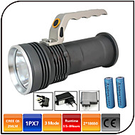 cheap -LED Flashlights / Torch LED 1000lm 3 Mode with Batteries and Charger Zoomable / Impact Resistant / Rechargeable Camping / Hiking / Caving