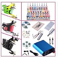 billige Tatoveringssett for nybegynnere-BaseKey Tattoo Machine Startkit, 1 pcs tattoo maskiner med 28 x 5 ml tatovering blekk - 3 x stål tatoveringsmaskin til lining og