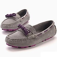 cheap Women's Boat Shoes-Women's Cowhide Spring / Fall Comfort Boat Shoes Flat Heel Lace-up Gray / Light Brown / Party & Evening