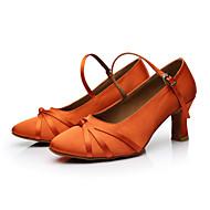 billige Moderne sko-Dame Moderne Sateng Høye hæler Innendørs Spenne Sløyfe Kustomisert hæl Svart Brun Oransje Kan spesialtilpasses