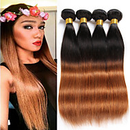 "4 Bundles 200g 8""-26""Brazilian Straight Virgin Hair Unprocessed Wefts Ombre #1B/30 Color Human Hair"