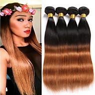 Cabelo Humano Cabelo Brasileiro Cabelo Humano Ondulado Liso Extensões de cabelo 4 Peças # T1B 30