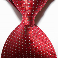 Men's Party/Evening Red Crossed JACQUARD WOVEN Necktie Necktie