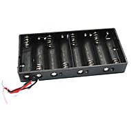 Caixa de caixa de suporte de 8 x aa com cabos - preto (total 12v)
