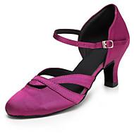 cheap Dancewear & Dance Shoes-Women's Latin Jazz Modern Swing Shoes Salsa Satin Sandal Heel Indoor Performance Professional Beginner Practice Buckle Ruffles Customized