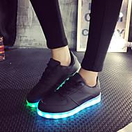 נשיםדמוי עור-להאיר נעליים-שחור-שטח יומיומי ספורט-עקב שטוח