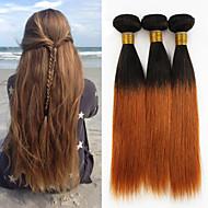 人毛 ペルービアンヘア 人間の髪編む ストレート ヘアエクステンション 3個 ブラック #T1B 30