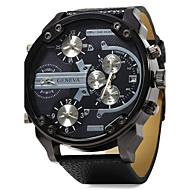 Homens Relógio de Pulso Relógio Militar Quartzo Três Fusos Horários Dois Fusos Horários Couro Banda Luxo Preta