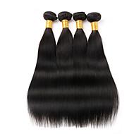 Gerçek Saç İri Dalgalı Peru Saçı İnsan saç örgüleri Düz Saç uzatma 4 Parça Siyah