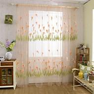 povoljno -Grommet Top Jedna ploča Prozor Liječenje Zemlja , Jacquard Living Room Polyester Materijal Sheer Zavjese Shades Početna Dekoracija