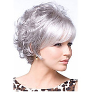 Women Synthetic Wig Curly Hair Silver Gray Short Wig With Bangs