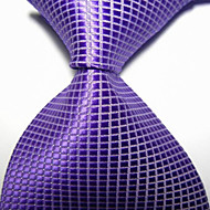 Men's Party/Evening Violet Checked JACQUARD WOVEN Necktie Necktie