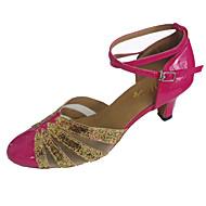 billige Moderne sko-Dame Moderne Glimtende Glitter Lakklær Sandaler Innendørs Ytelse Profesjonell Nybegynner Trening Kustomisert hæl Gul Fuksia Kan