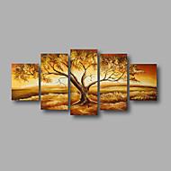 Handgeschilderde Abstract / Landschap / Abstracte landschappenModern Vijf panelen Canvas Hang-geschilderd olieverfschilderij For