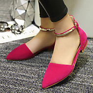 Women's Spring Summer Fall Leatherette Outdoor Dress Casual Flat Heel Buckle Black Red Almond