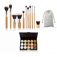11pçs alça de bambu e cabelo nailon cosméticos conjunto de pincel de maquiagem e 15 cores corretivo