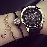 בגדי ריקוד נשים שעוני אופנה שעון צמיד קווארץ PU להקה שחור לבן ירוק ורוד