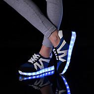baratos Sapatos de Tamanho Pequeno-Feminino Masculino Sapatos Courino Inverno Primavera Outono Tênis com LED Sem Salto Cadarço para Atlético Casual Branco Preto Azul