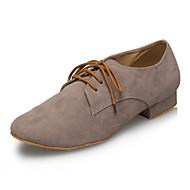 billige Moderne sko-Herre Latin Jazz Swingsko Samba Salsa Velourisert Høye hæler Innendørs Ytelse Profesjonell Nybegynner Trening Snøring Lav hæl Grå Under 1