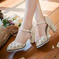Feminino Sapatos Courino Primavera Verão Outono Salto Robusto Vazados Para Casual Social Bege Azul Rosa claro