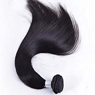 Echthaar Brasilianisches Haar Menschenhaar spinnt Glatt Haarverlängerungen 1 Stück Schwarz