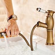 levne Koupelnové baterie-Starožitný Tezgah Üstü Výsuvný rozprašovač Keramický ventil Single Handle jeden otvor Starožitná mosaz, Koupelna Umyvadlová baterie