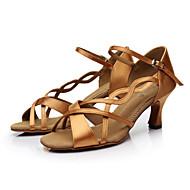 baratos Sapatilhas de Dança-Mulheres Sapatos de Salsa Cetim Sandália Presilha Salto Personalizado Personalizável Sapatos de Dança Marrom / Laranja / Púrpura / Couro