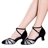 cheap Modern Shoes-Women's Latin Velvet Sandal Sneaker Heel Indoor Sequin Appliques Sparkling Glitter Ribbon Tie Hollow-out Ruched Ruffles Cuban Heel Black by Shall We®