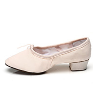 Dame Ballett Lerret Joggesko Trening Snøring Flat hæl Svart Rød Rosa 3 cm Kan spesialtilpasses
