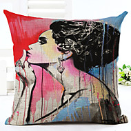cheap Pillow Covers-Novelty Makeup Lady Pattern Linen Pillowcase Sofa Home Decor Cushion Cover (18*18inch)