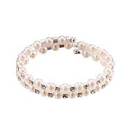 Žene Umjetno drago kamenje Biseri Persona Beads Collection Strand Round Bangles Srebrna Jewelry Vjenčanje Party godišnjica Dnevno Kauzalni