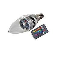 billige Stearinlyslamper med LED-3W E14 LED-lysestakepærer T 1 leds Høyeffekts-LED Fjernstyrt Dekorativ RGB 200-250lm RGBK AC 85-265V