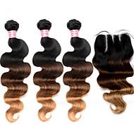 Недорогие -Волосы Уток с закрытием Малазийские волосы Естественные кудри 12 месяцев 4 предмета волосы ткет